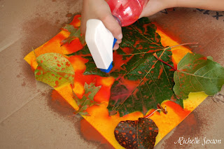 Paint sprayed onto leaves