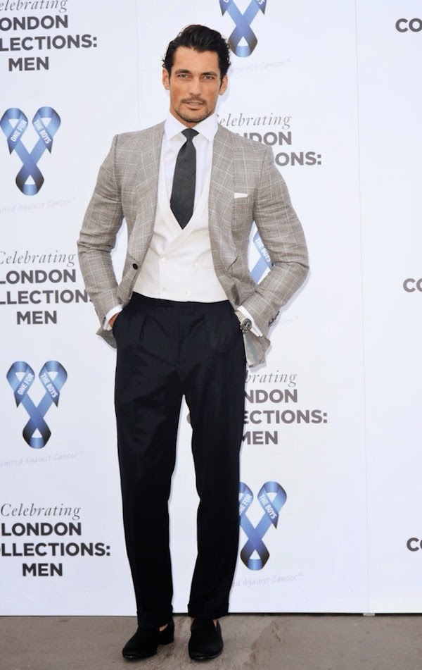 David Gandy in Marks and Spencer Best Of British three piece suit - One For The Boys Charity Ball hosted by Samuel L Jackson London Collections - Men SS15 #LCM #OFTBFashionBall