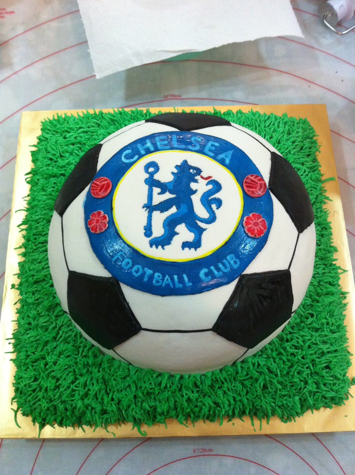 Home Mayde Cakes The making of Chelsea Soccer cake