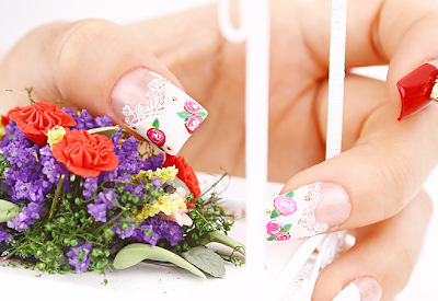 Flowers Nail Art of March! Easy Drawing Roses on Nail :)