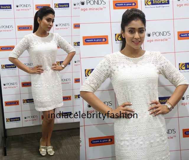 Shriya saran in white lace dress for ponds event