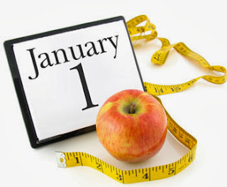 picture of calendar with january 1 and an apple and a measuring tape