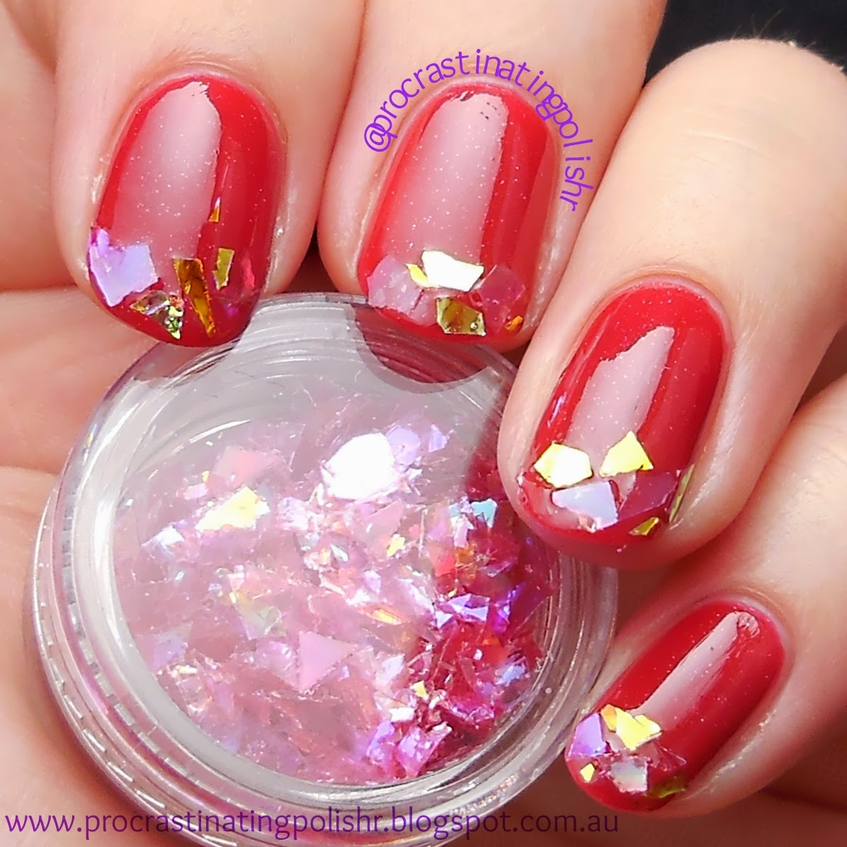French tip nail art with Mylar pieces