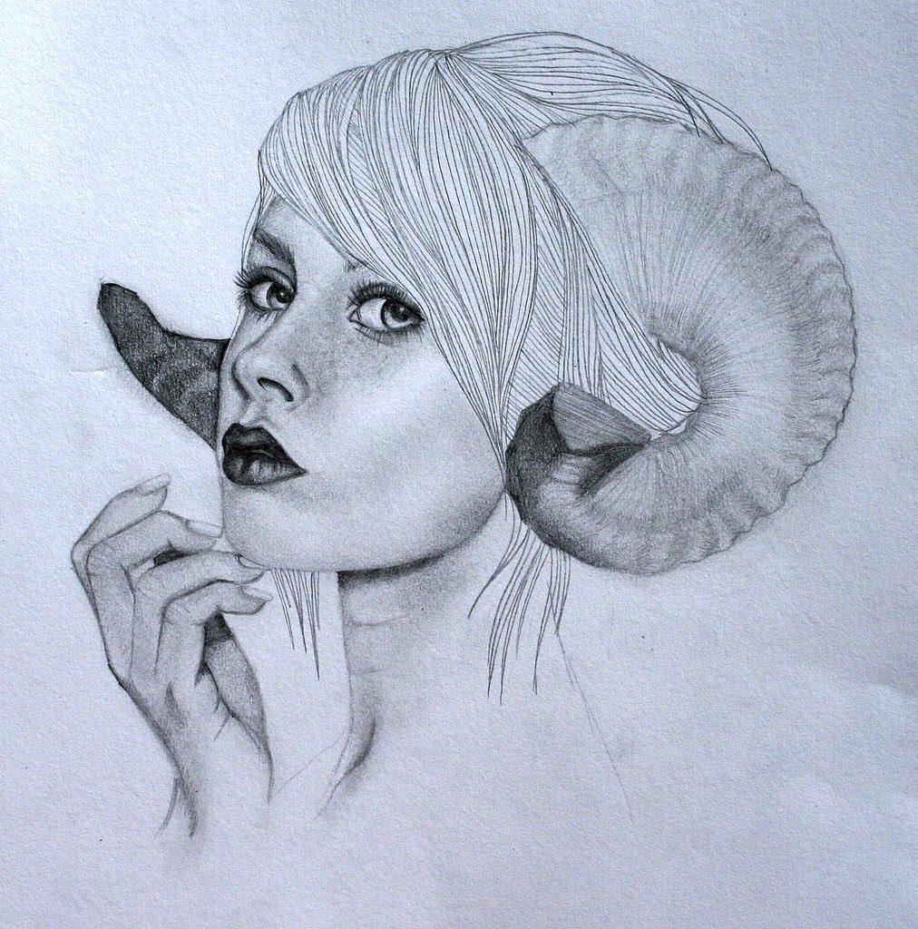 Dibujo a Lapiz de Mujer con Cuernos | Las Mejores Imagenes y Fotos del ...
