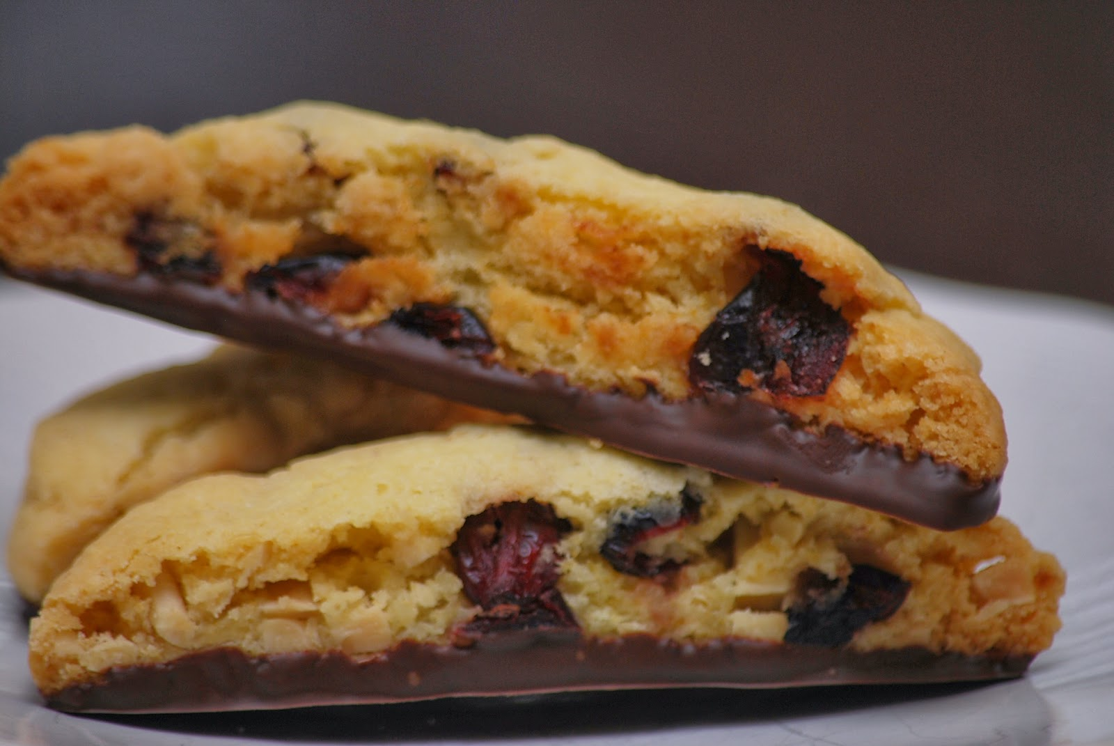 My story in recipes: White Chocolate Dipped Cherry Almond Biscotti