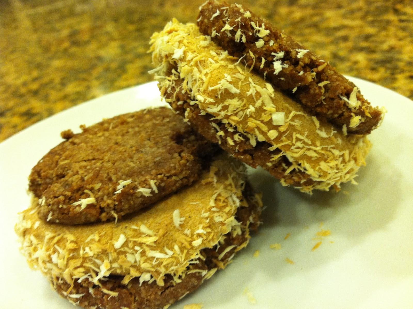 Pumpkin-spice paleo ice cream sandwiched between ginger crisp almond ...