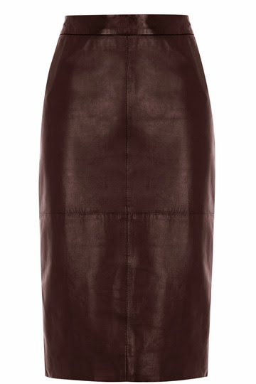 Oxblood leather pencil skirt