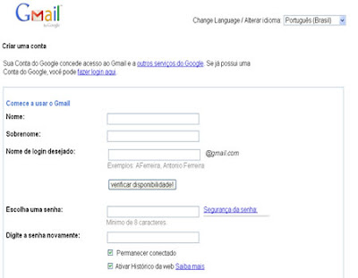 formulario conta de e-mail no gmail