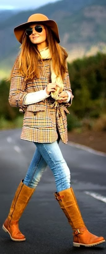 Brown Boots, Blue Jeans And Coloful Coat
