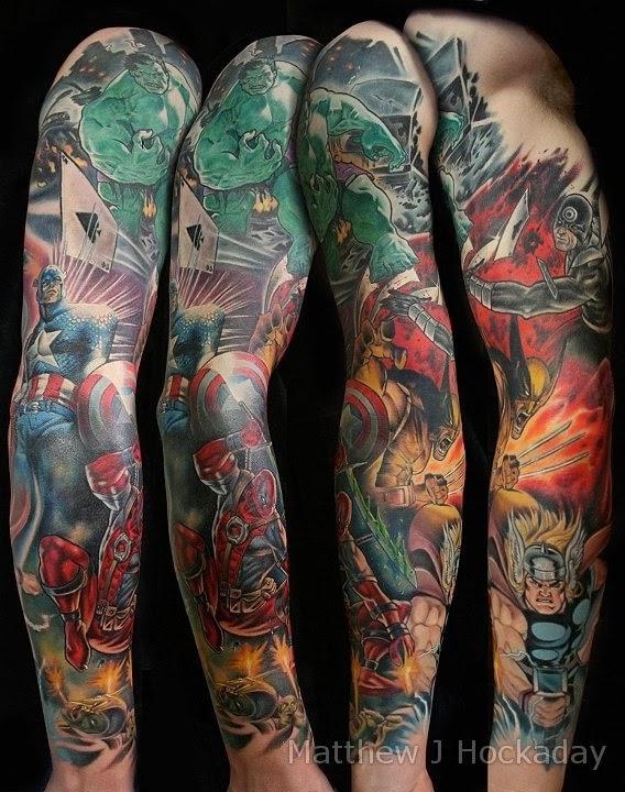 It 39 s a dan 39 s world secret inkvasion hot marvel tattoo for Marvel sleeve tattoo black and white