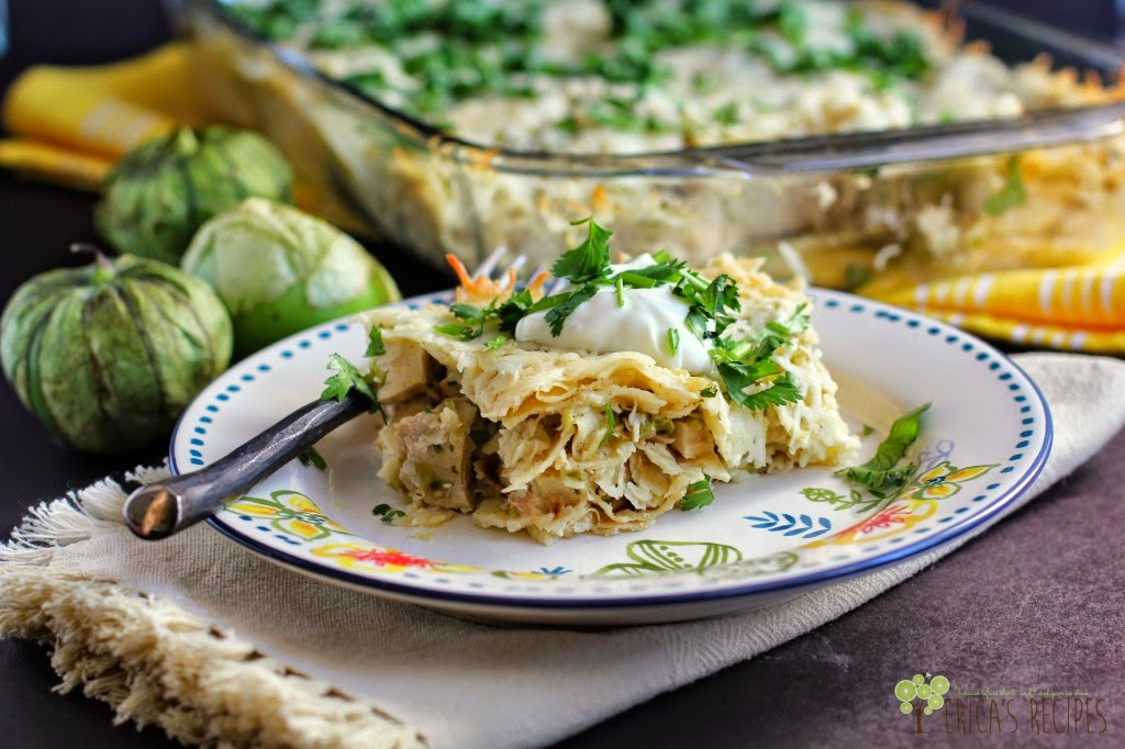 Salsa Verde Chicken Enchilada Stack