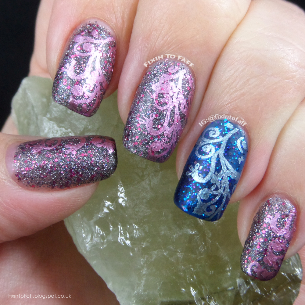 Festive colored chrome stamping over glitter base.