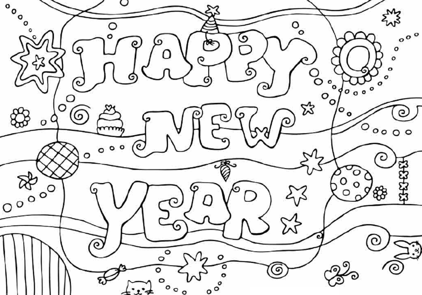 Colour Drawing Free Hd Wallpapers Happy New Year 2015 New Year Coloring Pages