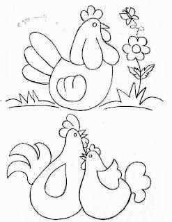 risco galinhas estilo country para pintura em tecido