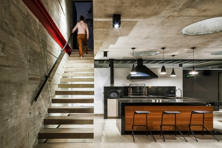 Stairs in Modern Planalto House by Flavio Castro