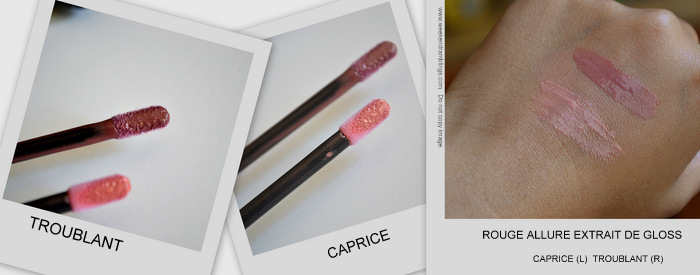 Les Essentiels de Chanel Makeup Collection Fall 2012 Beauty Blog Swatches Rouge Extrait de Gloss Troublant Caprice