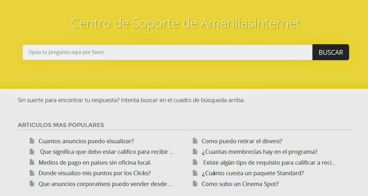 Centro de Soporte AmarillasInternet. Tienes dudas o consultas?
