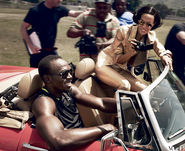 Joan Smalls & Usain Bolt Vogue US June 2012 by Patrick Demarchelier