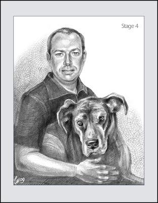 portrait de chien et son maître (dessin hachures)