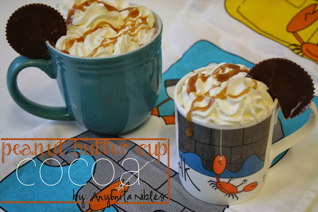 Two mugs of Peanut Butter Cup Cocoa from www.anyonita-nibbles.com