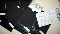 Convite de Casamento Preto com Arabesco