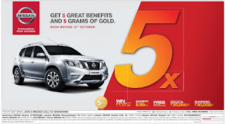 Get 5 great Benifits and 5 grams Gold with Nissan, Terrano. Great deal on Nissan cars !