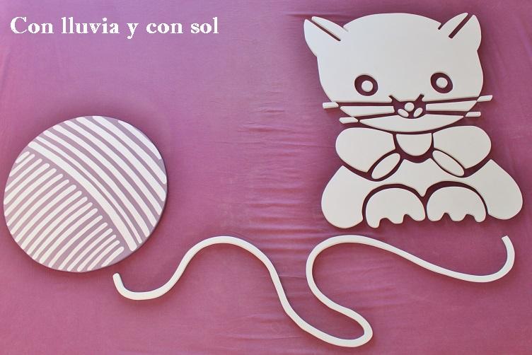 Con lluvia y con sol mural infantil para pared gatito de for Murales de papel para pared