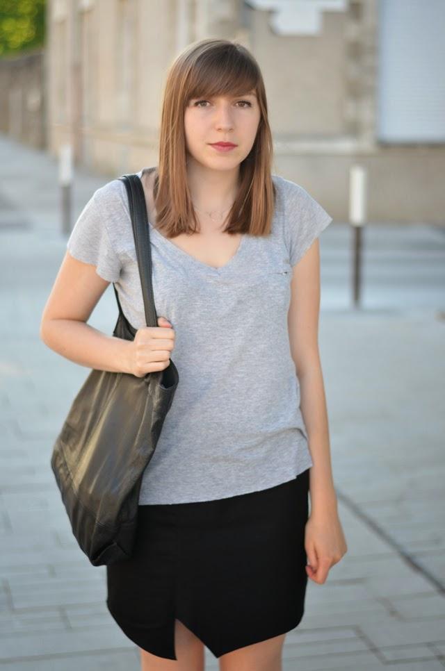 Jupe asymétrique J.Velez couture sac cabas noir