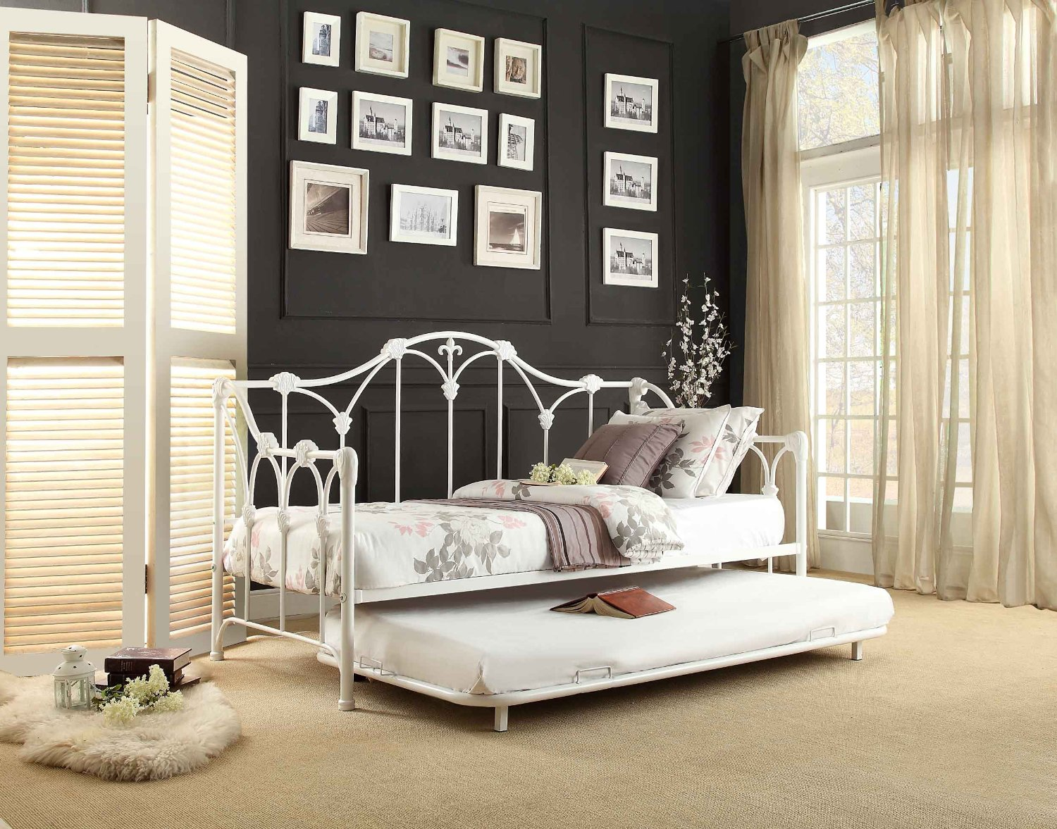 White Metal Frame Daybed with Trundle: Roll Out & Pop Up Trundles