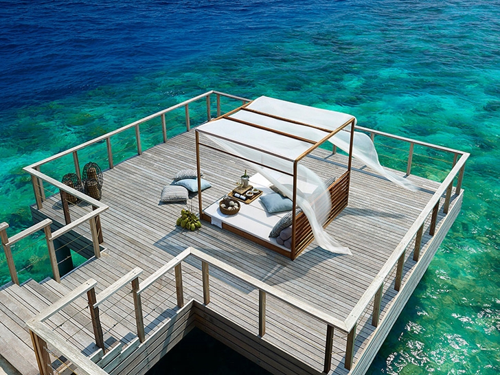 Wooden deck in Luxury Dusit Thani Resort in Maldives