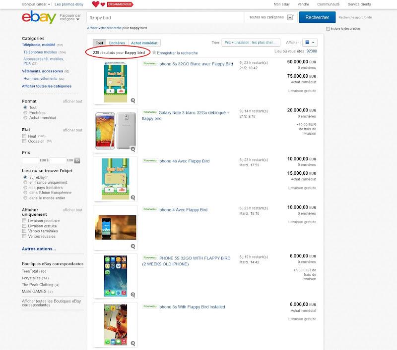 annonces flappy bird sur eBay