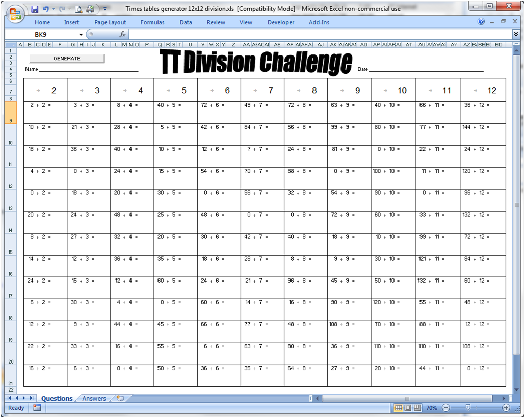 My Life All in One Place: Free Times Table Challenge tool 2 - Division