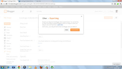 Dialog Box of Export option in Blogger