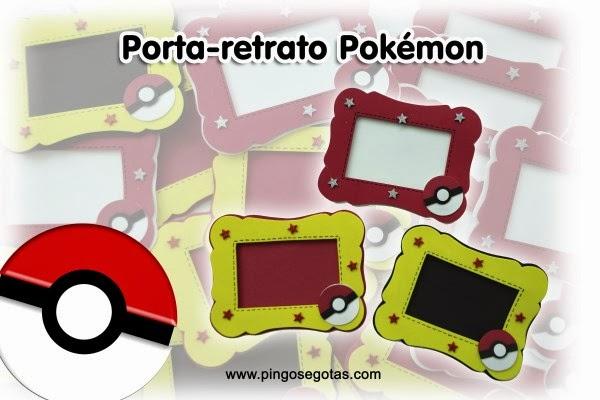 porta-retrato em eva tema pokemon