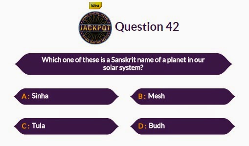 KBC 2014 GBJJ Question No.42 of 20 October 2014
