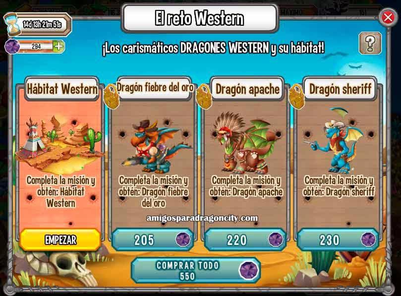 imagen de las misiones de la isla western de dragon city
