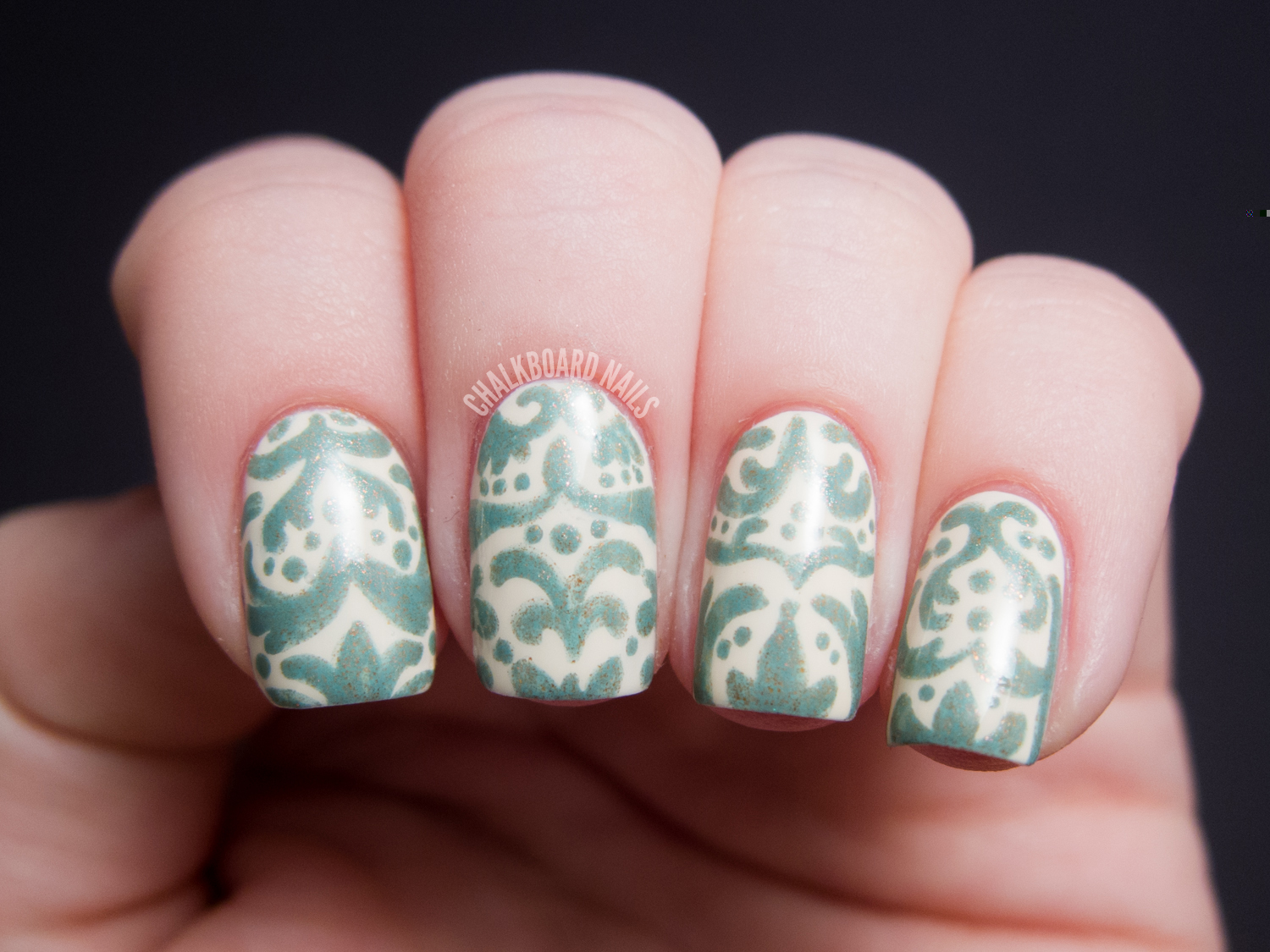 Ivory And Turquoise Antiqued Baroque Chalkboard Nails Nail Art Blog