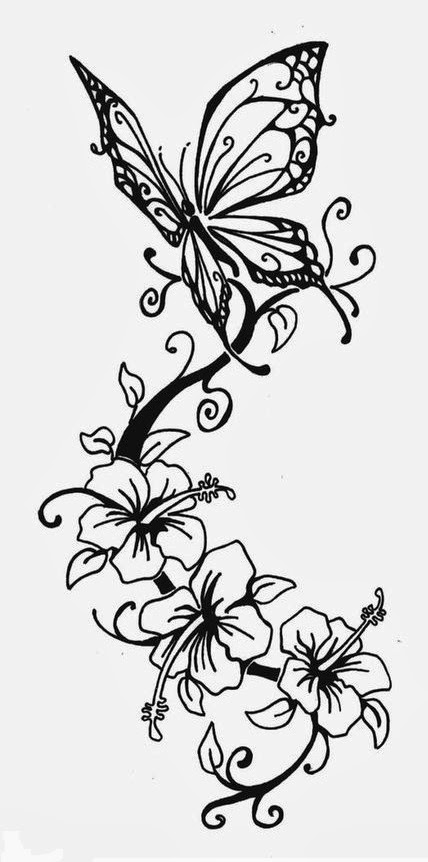 Butterfly and lilies tattoo stencil