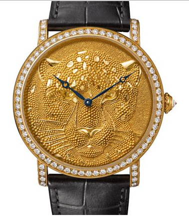 pure gold and diamonds on Rotende De Cartier Panther Watch