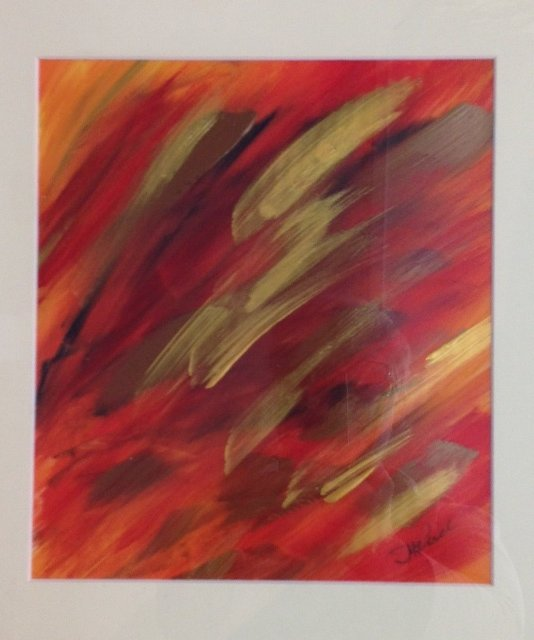 fire, abstract painting, red, gold, June-Anne Reid