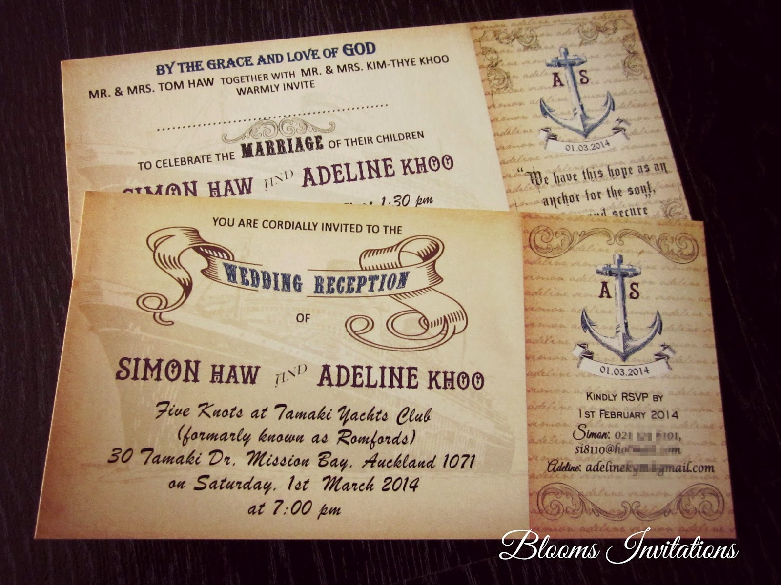 Vintage Nautical Boarding Pass Wedding & Reception Invitation