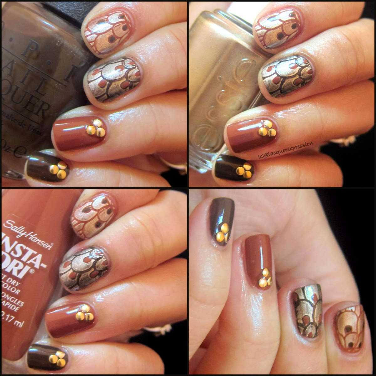 Thanksgiving Feathers nail art using O.P.I. Suzy loves cowboys, essie good as gold, sally hansen moracc-go, and Pueen encore stamping plate