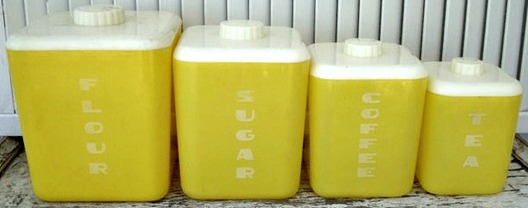 1950s plastic kitchen canisters Lustroware yellow Just Peachy, Darling