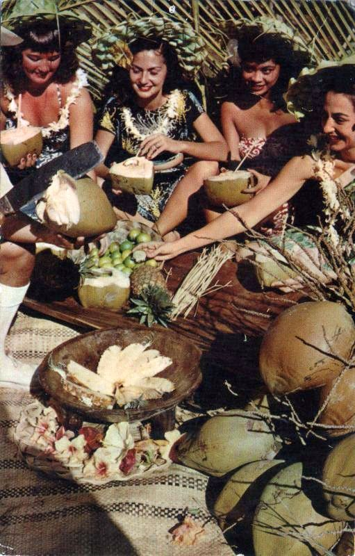 group of Hawaiian women preparing fruit