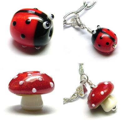 Lampwork glass ladybird and toadstool beads