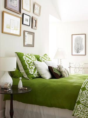 dormitorio marrón y verde