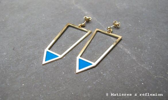 Boucles d'oreilles Vega Anne Thomas bleues
