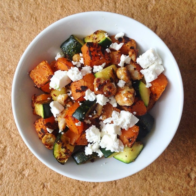 Sweet Potato Hash with Turkey, Zucchini and Feta