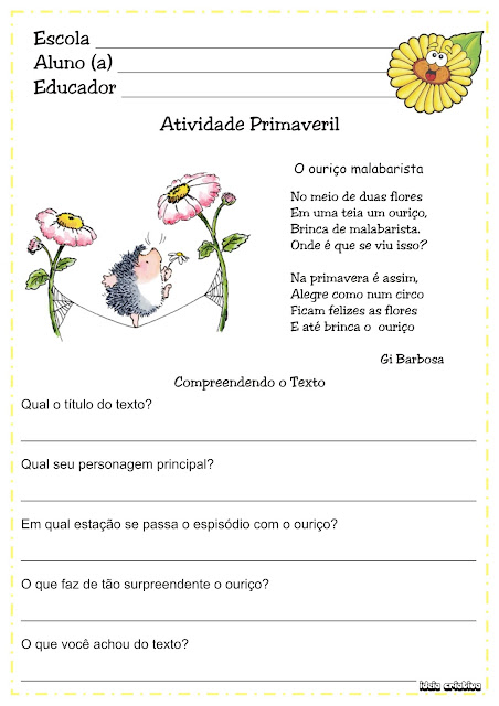 Atividade Texto e Interpretação/ Temática Primavera