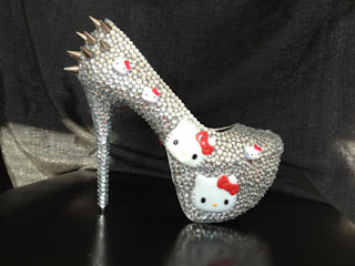 Hello Kitty high heel shoes silver rhinestones